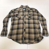 Wrangler Western Shirt Pearl Snap Rockabilly VLV Mens Size Large Gray Plaid