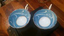 Peacock Blue Tea cup set of 2 Silver Rimmed CoalPort Bone China