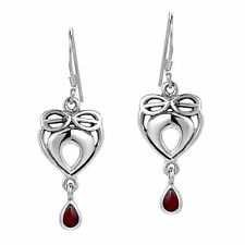 Infinite Love Celtic Heart Red Coral Inlaid .925 Silver Earrings