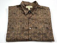 Tori Richard XL Men's Short Sleeve Brown Button Front Hawaiian Shirt