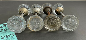 8 Antique Vintage Crystal Glass Door Knob 12 Point Brass Hardware W/ Spindle