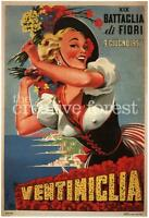 Mermaid with Sponge 1920 Vintage Italian Advertising Giclee Canvas Print 20x30