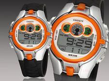 OHSEN Sport Digital AL School Watch For Child Boy Girl Wrist Watches Gray Orange