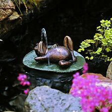 SU5080 - Spitting Frog on Lilly Pad Bronze Garden Statue!