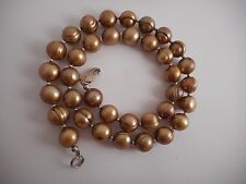 "Copper Genuine Freshwater Pearl Necklace STERLING SILVER CLASP and Beads 17"" 9mm"