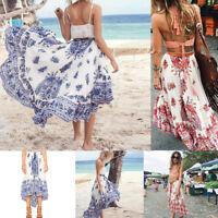 Women Boho Tribal Floral Skirt Maxi Summer Beach Ladies Long Casual Skirt Dress
