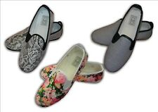 Ladies Girls Summer Flat Canvas Flossy Shoes  REDUCED TO CLEAR