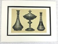 1857 Antique Print Persian Niello Silver Vase Bowl Urn Table Centerpiece