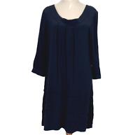 Veronika Maine Womens Black 3/4 Sleeve Shift Dress Size 10