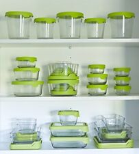 Anchor Hocking TrueSeal Glass Food Storage Containers with Airtight Lids, Green,