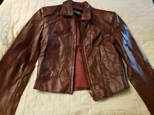 Wilsons Leather Vintage Burgundy Coat Waist Length Womens Size 12