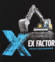 Volvo Ex-Factor Excavator T-Shirts Black 100% Cotton Construction Equipment
