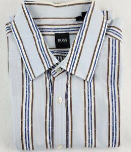 Hugo boss dress shirt mens button up long sleeve blue white brown Striped XL