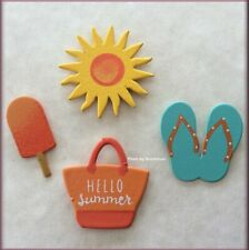 Hello Summer Metal Magnets Set of 4 Sun Flip-Flops Ice Pop Beach Tote by Roeda®