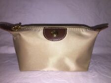 Longchamp Travel Accessories Bag Beige Brown Leather Tabs 6x4 NWOT