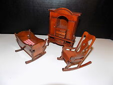 Vintage  Doll House Furniture  baby cradle  rocking chair and hutch