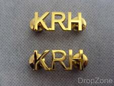 Pair of British Military Army Kings Royal Hussars KRH Staybrite Shoulder Titles