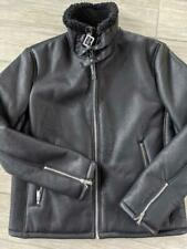 NEW bomber KARL LAGERFELD black B3 jacket LARGE faux leather SHERPA LINED nwt