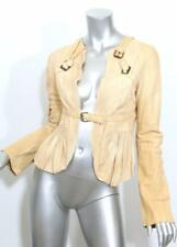 HAUTE Womens Golden Custard Textured Raw Leather Stamped Moto Buckle Jacket 2-38