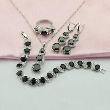 BLACK SAPPHIRE 925 Silver Gioielli Set Collana, Anelli, Orecchini Bracciale Anello