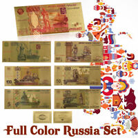 WR 7PCS Russia Rubles Colored Gold Banknote Russian Bill Note For Collection