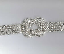 15.5 Inch RHINESTONE BRIDAL MOTIF APPLIQUE SASH BELT ADDITION  2571-X