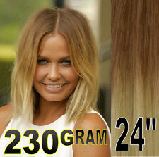 "THICK 24"" BALAYAGE OMBRE CLIP IN REMY HUMAN HAIR EXTENSIONS BROWN BLONDE 10/613"