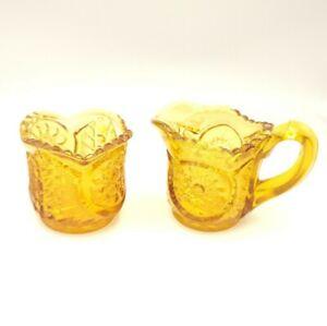 Antique Northwood Carnival Glass Marigold Creamer and Sugar Set