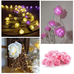 LED Rose Fairy Lights Leaves String Party Christmas Garden Light Wedding Decor
