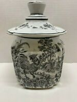 French Country Kitchen Rooster Toile Canister Cookie Jar Black and White w/Lid