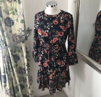 M&S 8 Navy knee boho floral button tassel floaty summer holiday NEW cottagecore