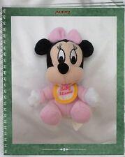 Doudou Peluche Baby Minnie Rose Assis Bavoir Blanc Jaune Grelot Disney 12 cm