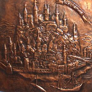 Vintage Serbia Belgrade Copper wall decor plaque cityscape