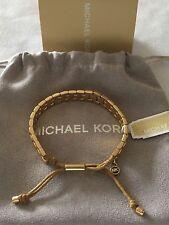 MICHAEL KORS Gold Tone Watch Link-Silk Adjustable Rope Bracelet MKJ2017 $125.00