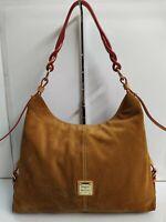 Dooney & Bourke Camel Brown Suede Tan Leather Large Hobo Shoulder Bag Purse