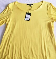 Jaeger Jersey Scoop Neck Top Teal Yellow 3/4 sleeve Size M brand new tags BNWT