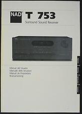 NAD T 753 ORIGINAL surround sound récepteur mode d'em Ploi