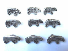 """50 Polar Bear Shape Old Metal Buttons Antique Silver Finish 5/8"""" X 3/8"""""""
