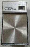 Vintage Montgomery Wards Airline 7 Transistor AM Radio Black Works