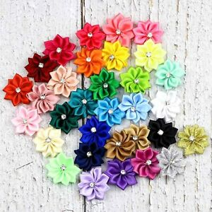80Pcs DIY Satin Ribbon Flower with Crystal bead Wedding Appliques/Sewing Crafts