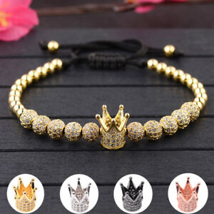 Luxury Clear Zircon Crown Beads Braiding Macrame Adjustable Women Men Bracelets