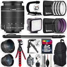 Canon EFS 18-55mm IS STM - Video Kit + LED KIt + Monopad - 32GB Accessory Bundle