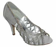 Zapatos de Novia Peep Toe Blanco Plata Con Piedrecita - 3HYZ-3615