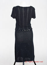 P431/41 Monsoon Sexy Black Cotton Crochette Fitted Dress, size L