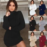 Women Bodycon Jumper Dress High Neck Pullover Knit Sweater Warm Mini Dress Tops
