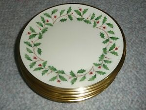 """LENOX HOLIDAY SET OF 6  BREAD BUTTER DESSERT DISHES PLATES 6 3/8"""" NEW w TAGS"""