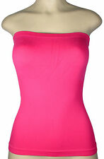 LADIES SEXY TUBE TOP BODYCON CLUB PARTY COCKTAIL SEAMLESS SHIRT LAYERING ONE SZ