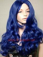 Haute qualité ! bleu fonce long animation Cosplay fête plein cheveux perruques