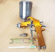 F-75 HVLP Air Spray Paint Gun Gold 1.5 mm Tips Nozzle 400cc MetalCan