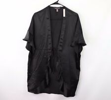 New Victorias Secret Womens Love Spell Out Tie Front Sexy Robe Lingerie Black